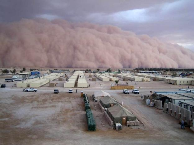 Photograph of a sand storm in Al Asad, Iraq, taken by an unidentified American soldier.